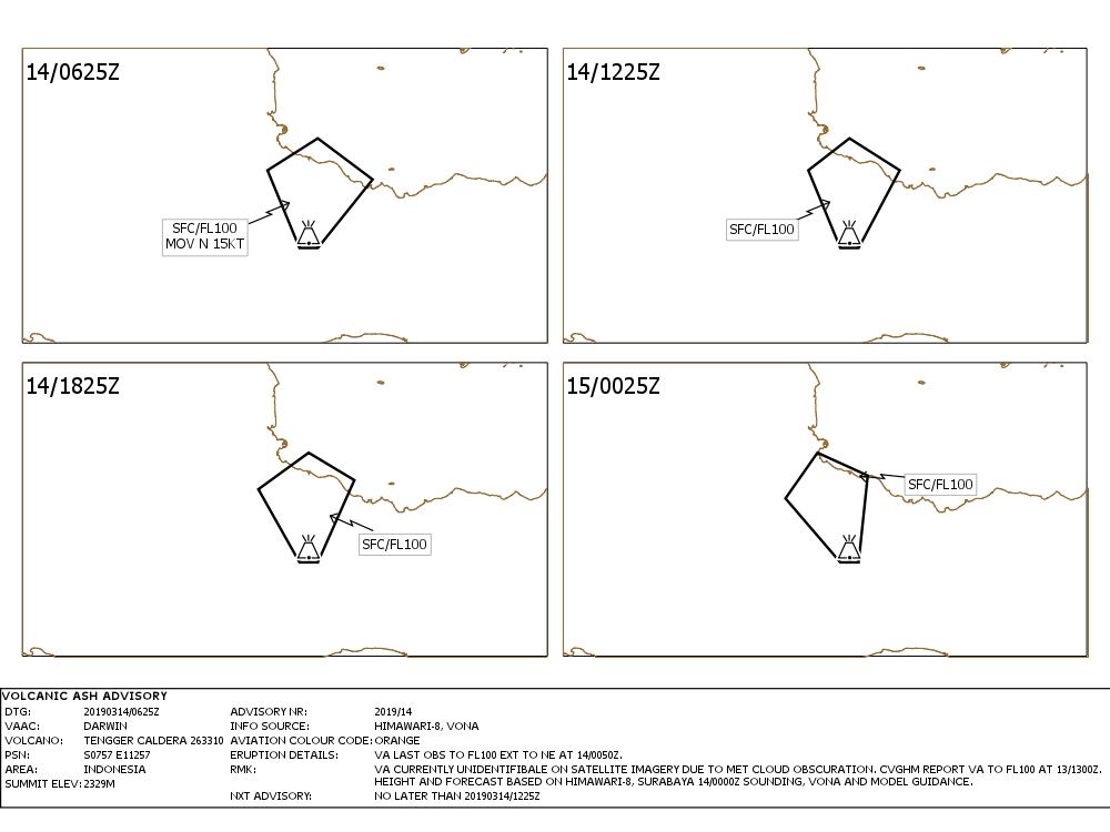 Bromo - Volcanis Ash Advisory pour les 14 et 15.03.2019 - Doc Vaac Darwin  IDY65295