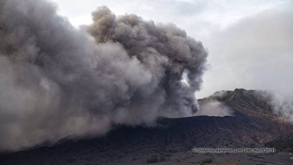 Bromo - ash emissions this 24.03.2019 - photo by drone / Øystein Lund Andersen