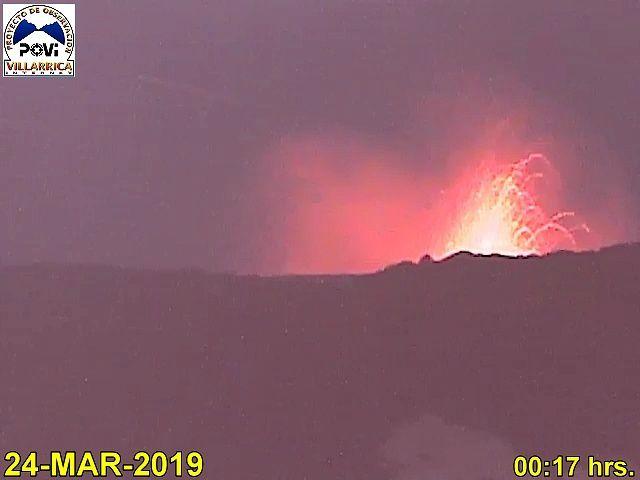 Villarica - activité strombolienne entre le 19 et le 24.03.2019 - webcam POVI