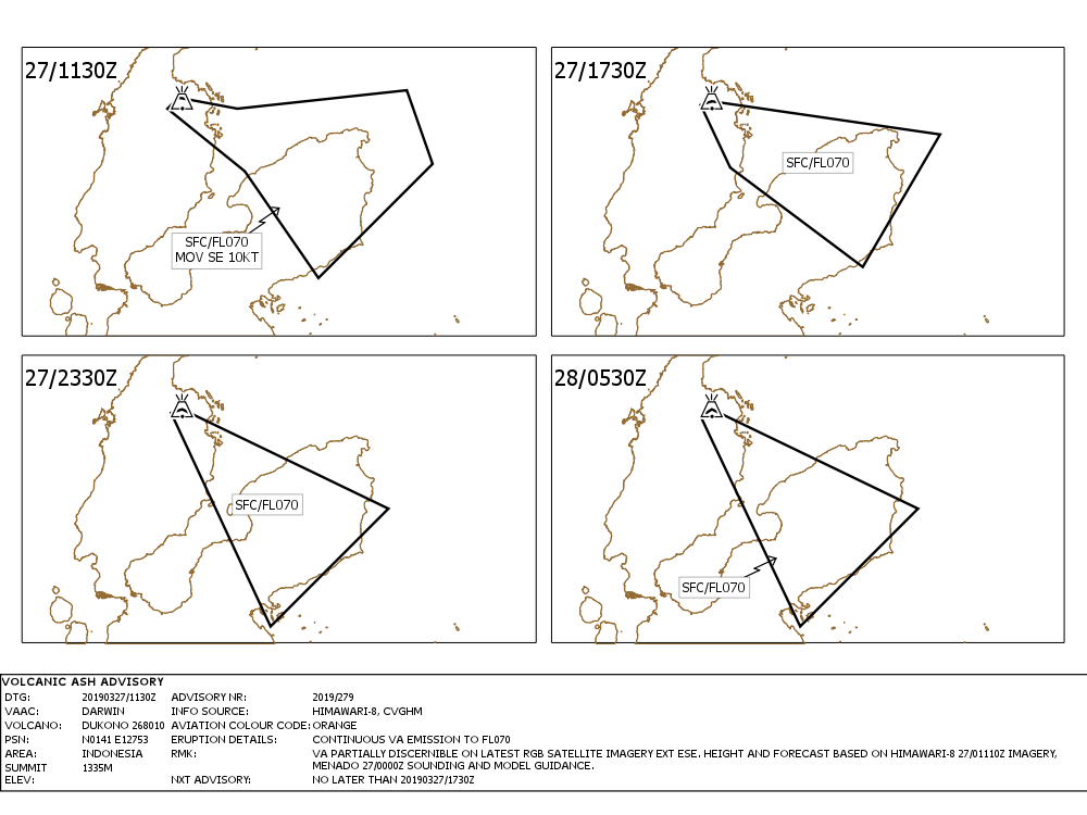 Dukono - Volcanic ash advisory for 27-28.03.2019 -Doc. VAAC Darwin IDY65300