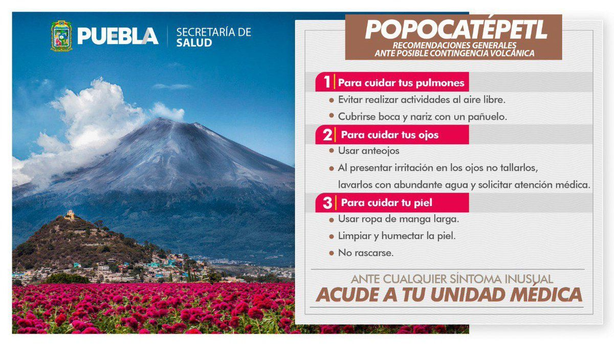 Popocatepetl - measures to be taken in case of ash falls and related dangers - Doc. Edomex & Puebla salud