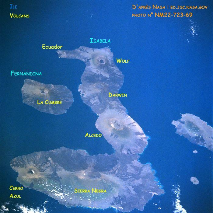 Localisation des volcans d'Isabella sur cette photo de la Nasa