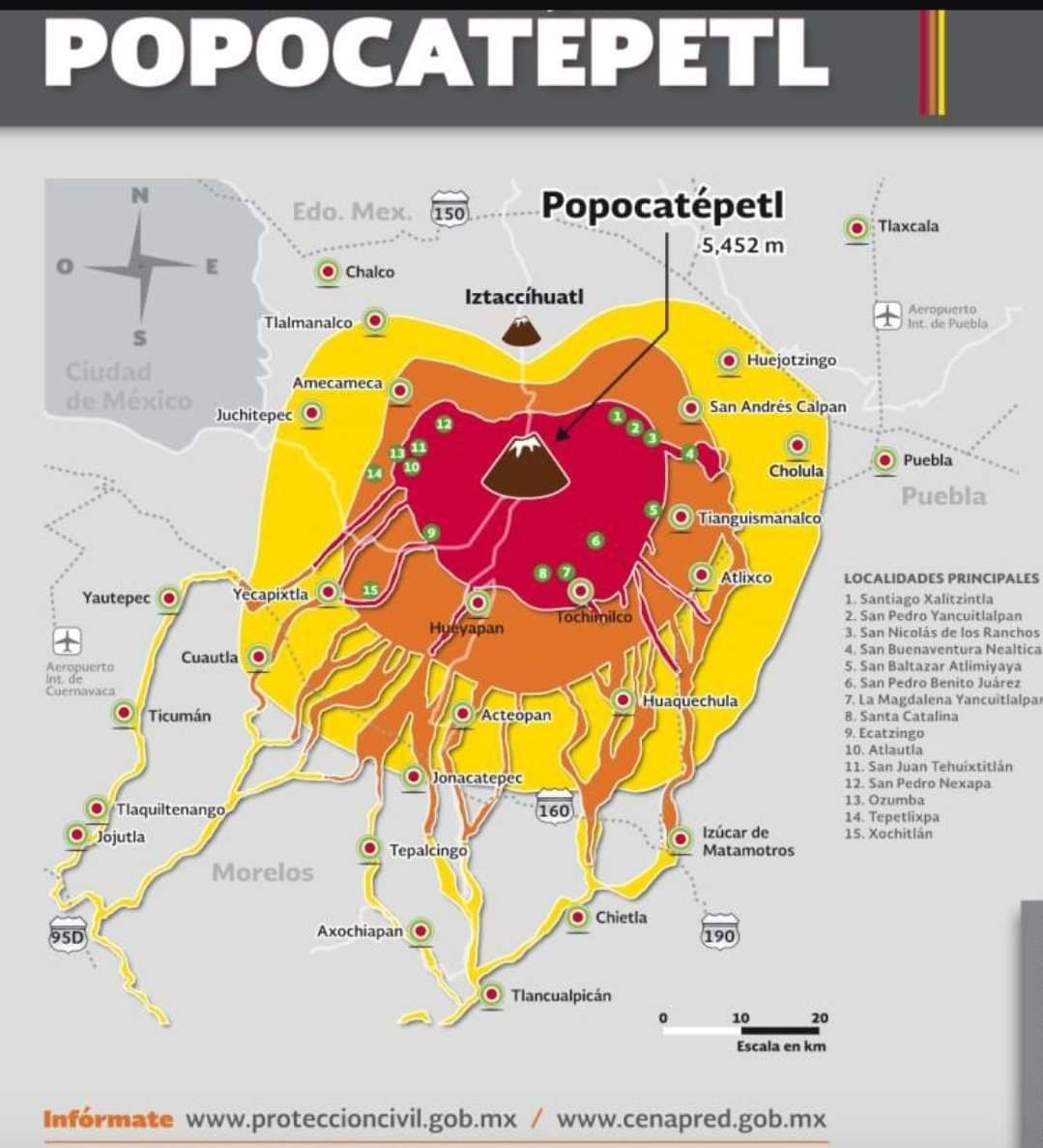 Popocatépetl - 29.03.2019 - areas that may be affected by any lava flows in the event of an eruption - Doc.Proteccion civile / Cenapred