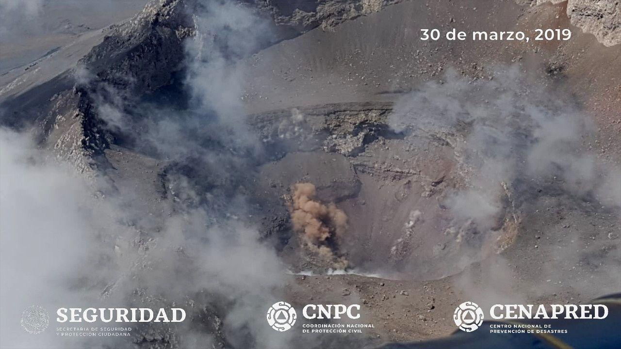Popocatépetl - situation du cratère actif le 30.03.2019 - Cenapred / Unam / Policia fed.