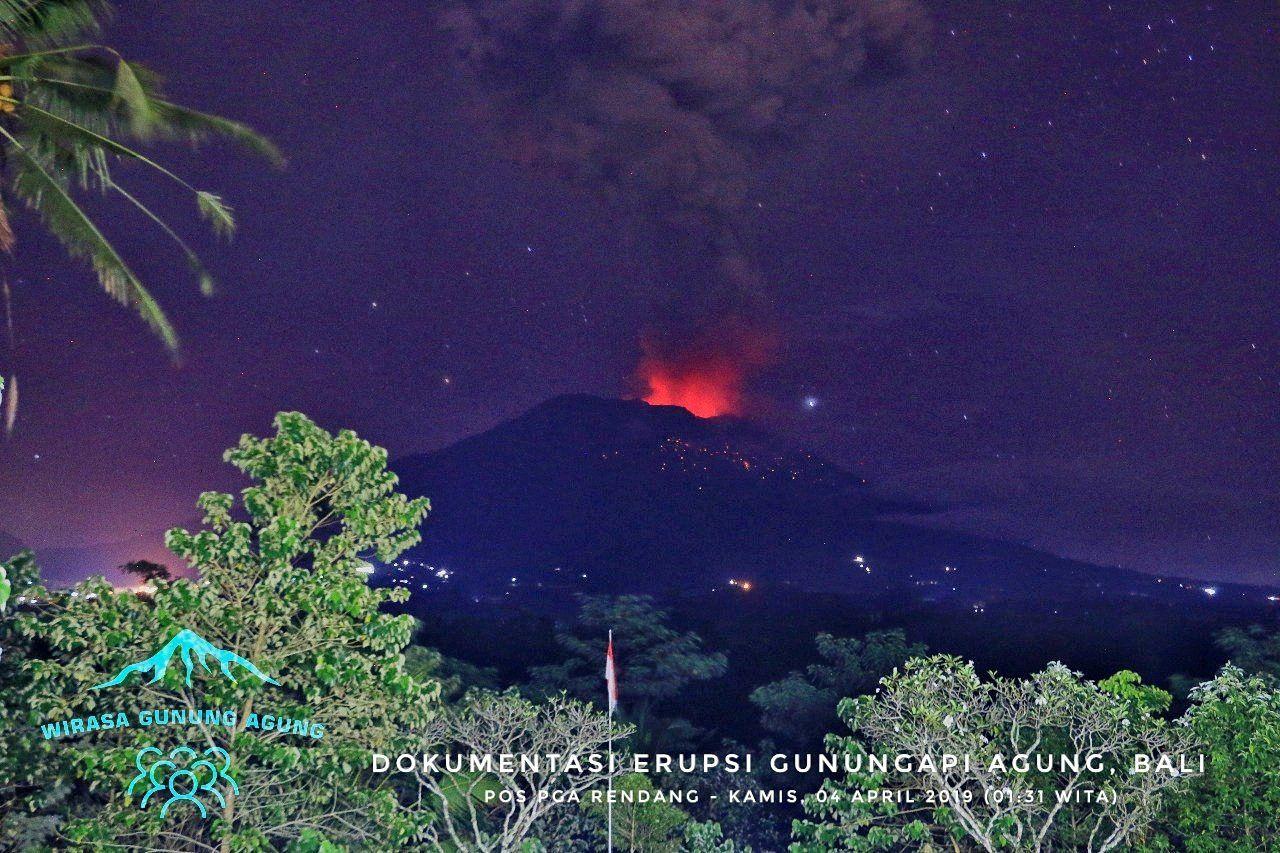 Agung -  épisode éruptif du 04.04.2019 / 01h31 WITA - photo Wirasa Gunung Agung
