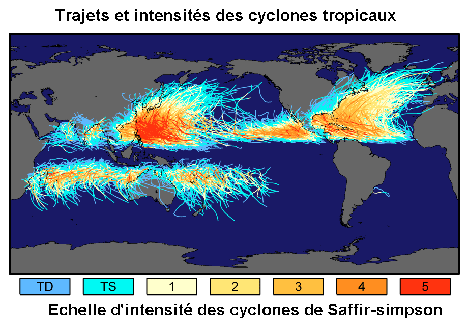 Map of the tropical cyclone track from 1985 to 2005. The color corresponds to the Saffir-Simpson scale according to the legend indicated. - Doc. Robert A. Rohde for Global Warming Art / CC BY-SA 3.0