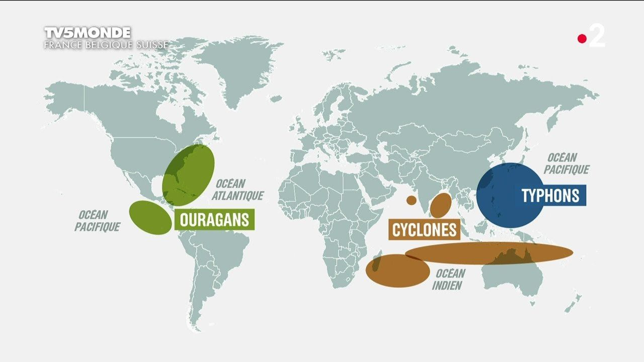 Geographical distribution of cyclones, typhoons and hurricanes - Doc. TV5 World
