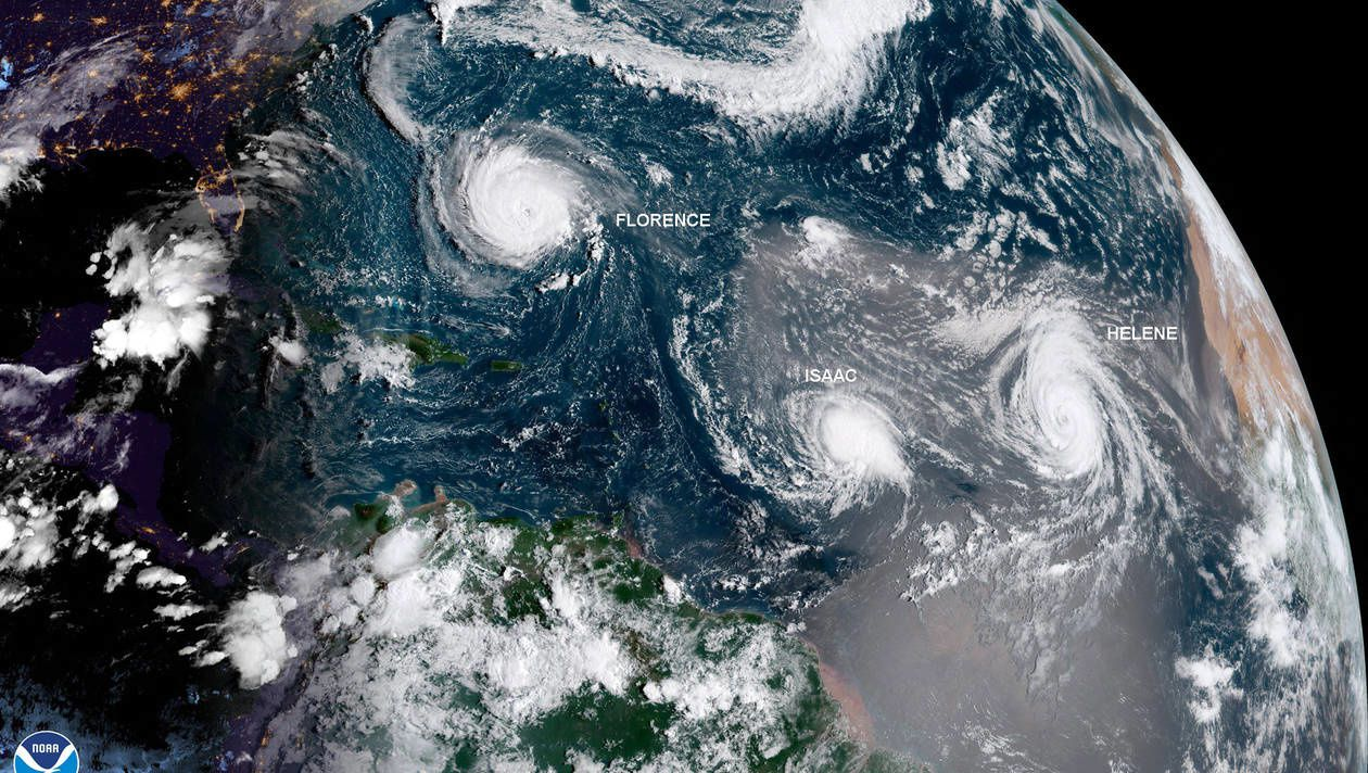 The two hurricanes Florence and Helen and the strong tropical storm Isaac - NOAA photo