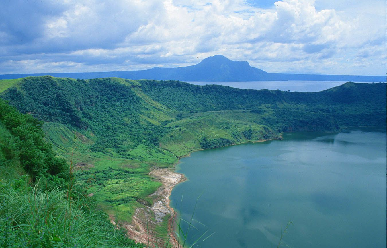 Lake Taal - a crater lake in a volcanic island located in a caldera, itself in an island ... a typical nest of Filipinos
