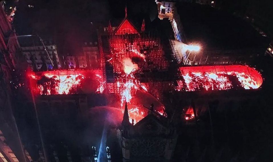 14.04.2019 - Paris, Notre-Dame on fire ! (image by drone on the Tv)