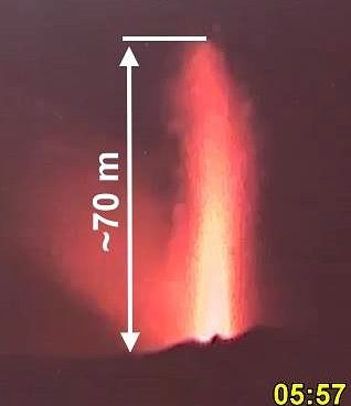 Villarica - éjection de pyroclastes le 15.04.2019 / 5h57 - photo POVI