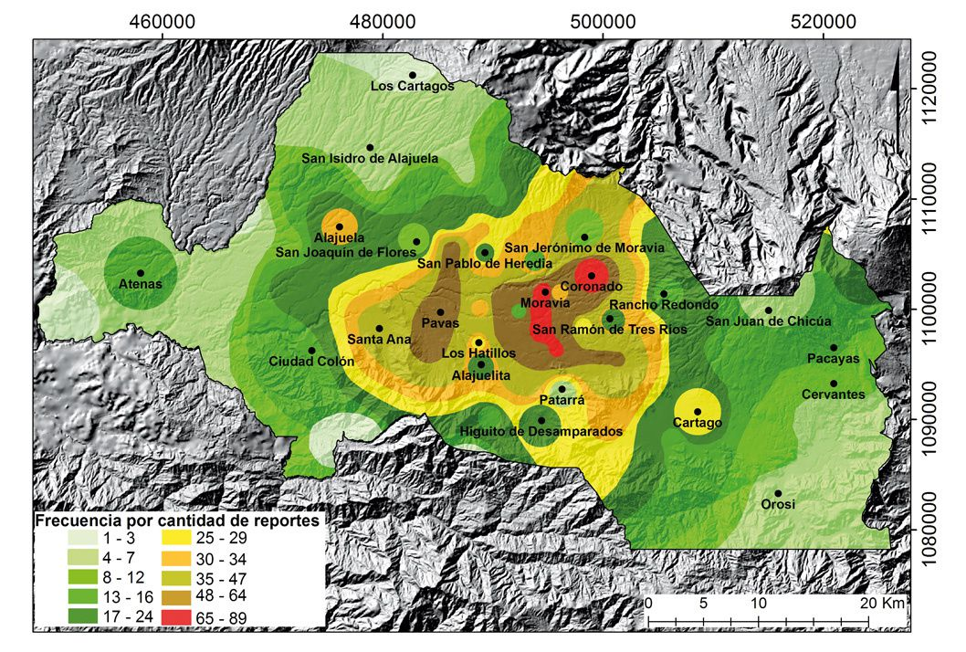 Turrialba - The isofrequency data revealed that out of 123 villages that reported an ashfall, between 2010 and 2017, 68 are located in 29 cantons belonging to the metropolitan area. - Doc. University of Costa Rica
