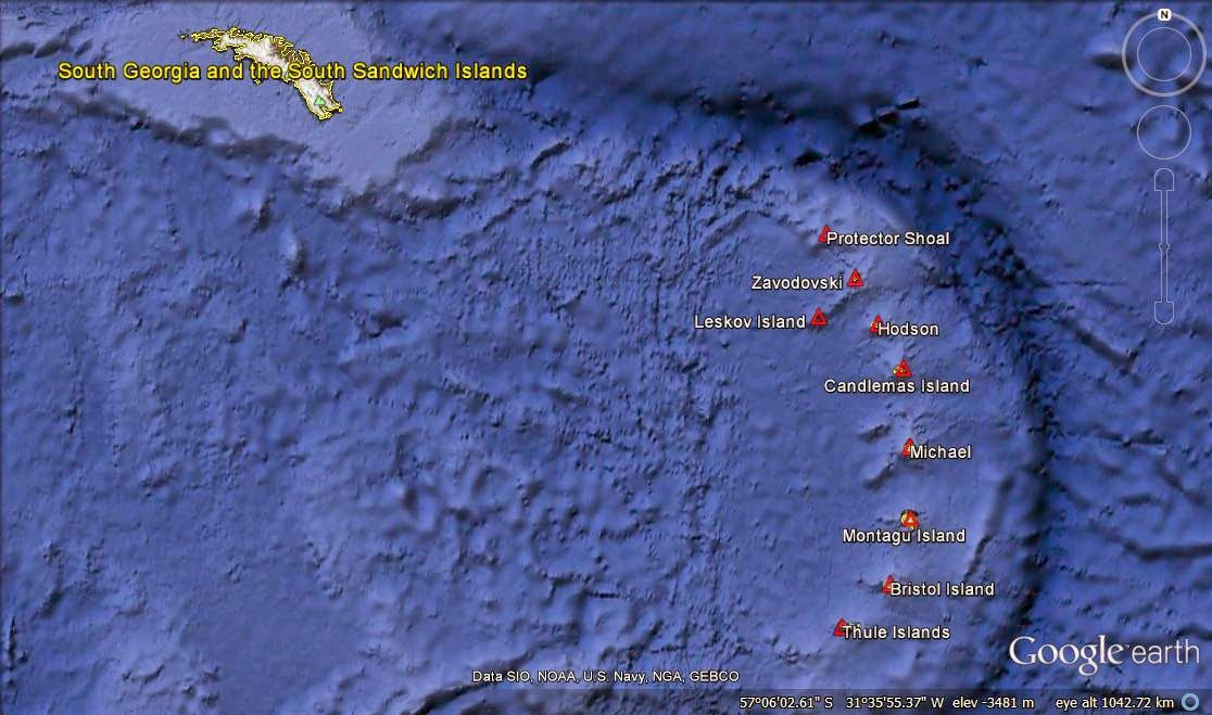 The South Sandwich Islands volcanic arc - Doc. Google Earth - one click to enlarge