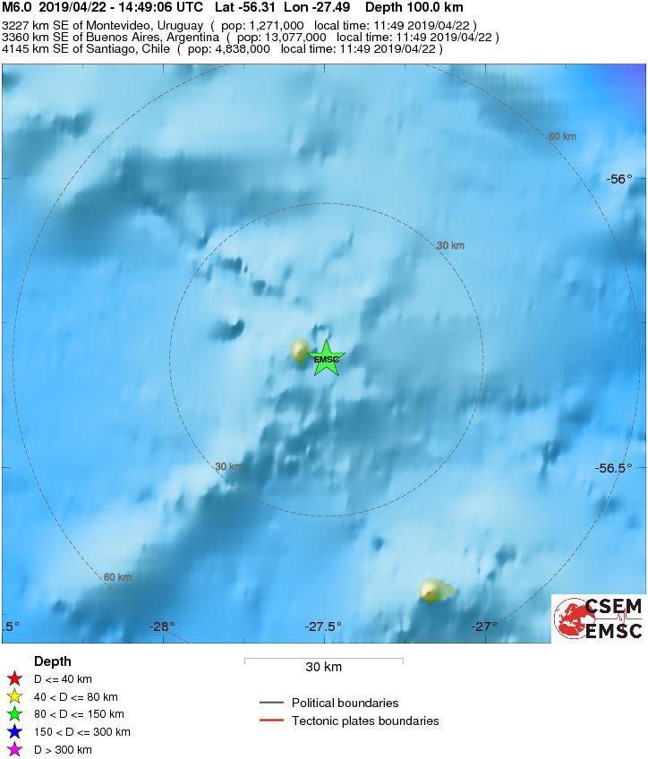 Zavodovski island -  Séisme M6,0 le 22.04.2019 / 14h49 UTC  profondeur 100 km - Doc. EMSC