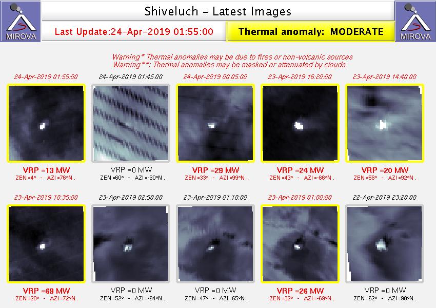 Sheveluch - anomalies thermiques au 24.04.2019 / 01h55 - Doc. Mirova_MODIS_Latest10NTI