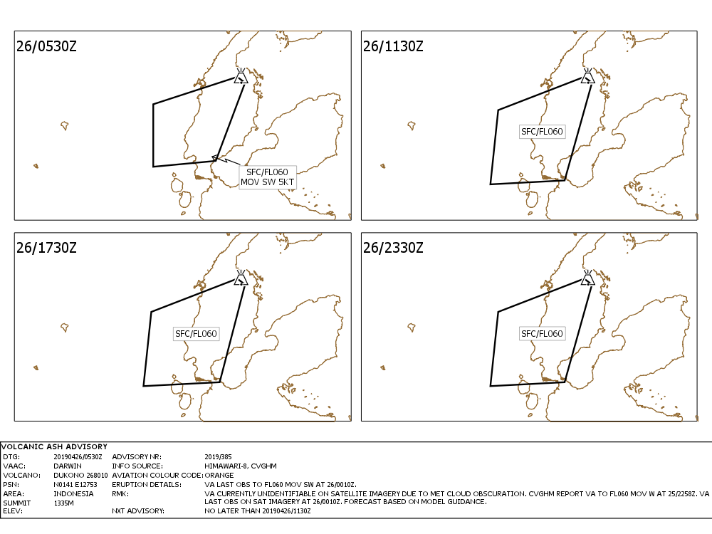 Dukono- Volcanic ash advisory for the 26.04.2019 - Doc. VAAC Darwin IDY65290