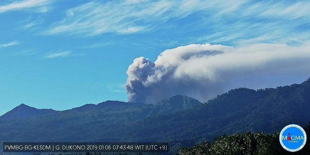 Dukono - activity of January 2019 - photo Magma Indonesia