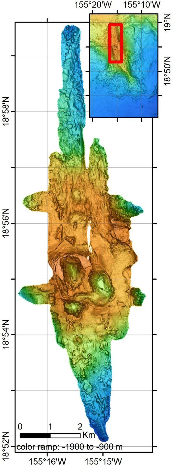 Volcan sous-marin Lō'ihi, à Hawaii - zone d'étude - Doc. in Structure of Lō'ihi Seamount, Hawai'i and Lava Flow Morphology From High-Resolution Mapping  / références en sources