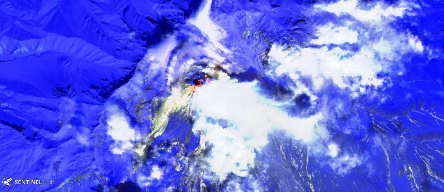 Sheveluch - hot spots au 28.04.2019 - image Sentinel 2 bands 12,11,4  - un clic pour agrandir