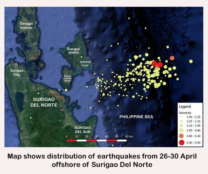 Epicentres of the earthquakes of end of April 2019 in the area of ​​Surigao del Norte / Philippines.