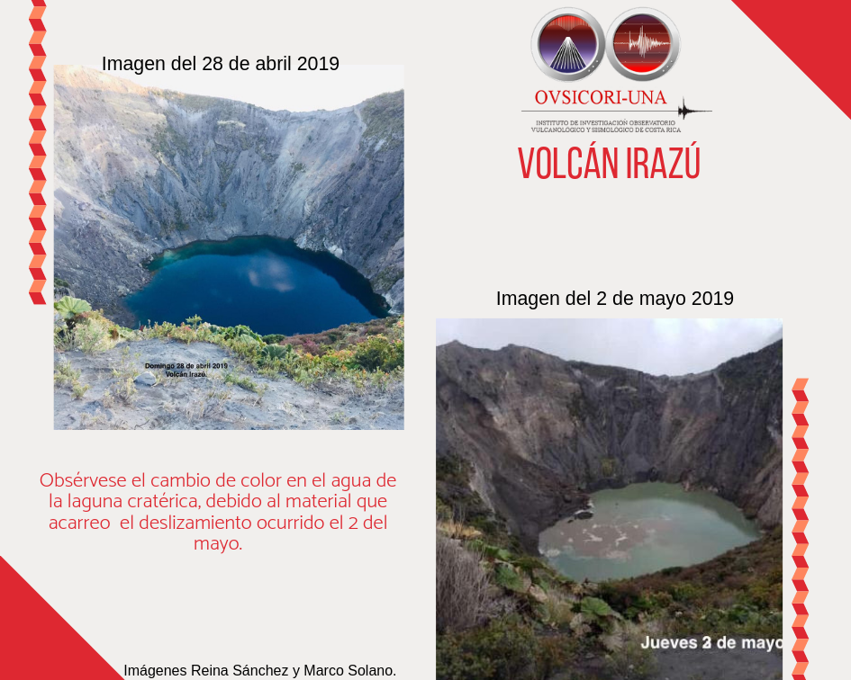 Irazu - color change of acid lake waters following an  internal landslide on 2 May 2019 - photos Reina Sanchez & Marco Solano via Ovsicori