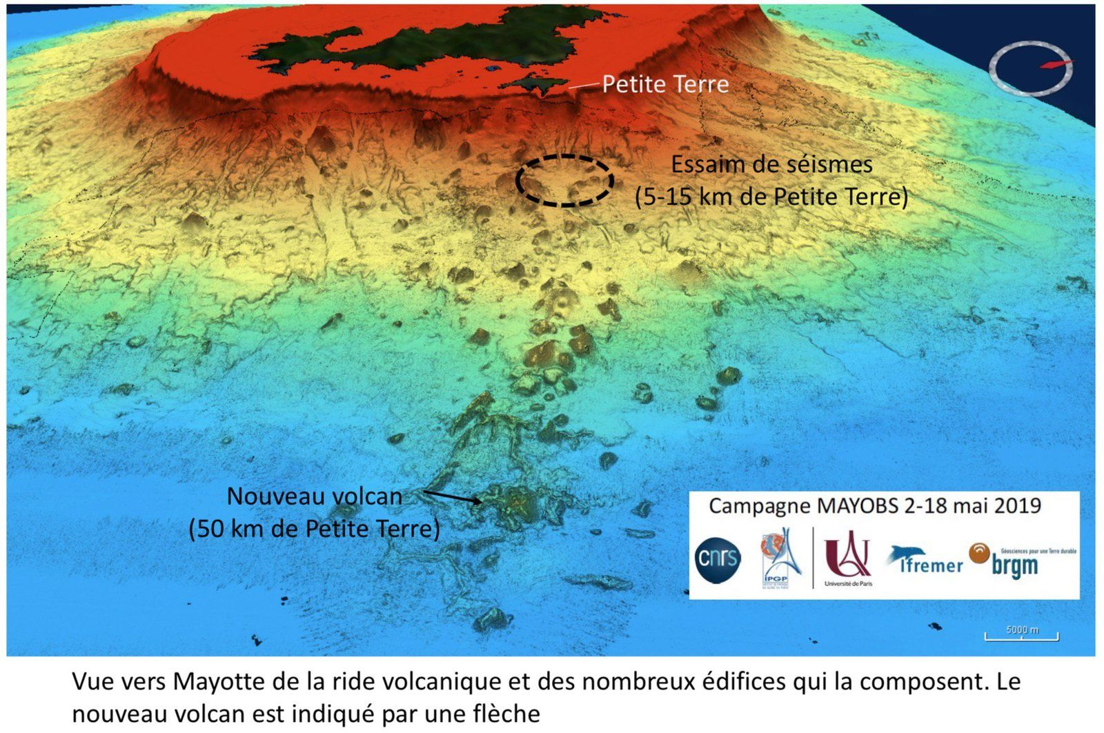 Mayotte - situation of the island (submerged and emerged parts) and the volcanic ridge with its buildings - the new volcano is signposted - Doc. MAYOBS campaign from 02 to 18.05.2019 - CNRS / IPGP / IFREMER / BRGM / Univ Paris