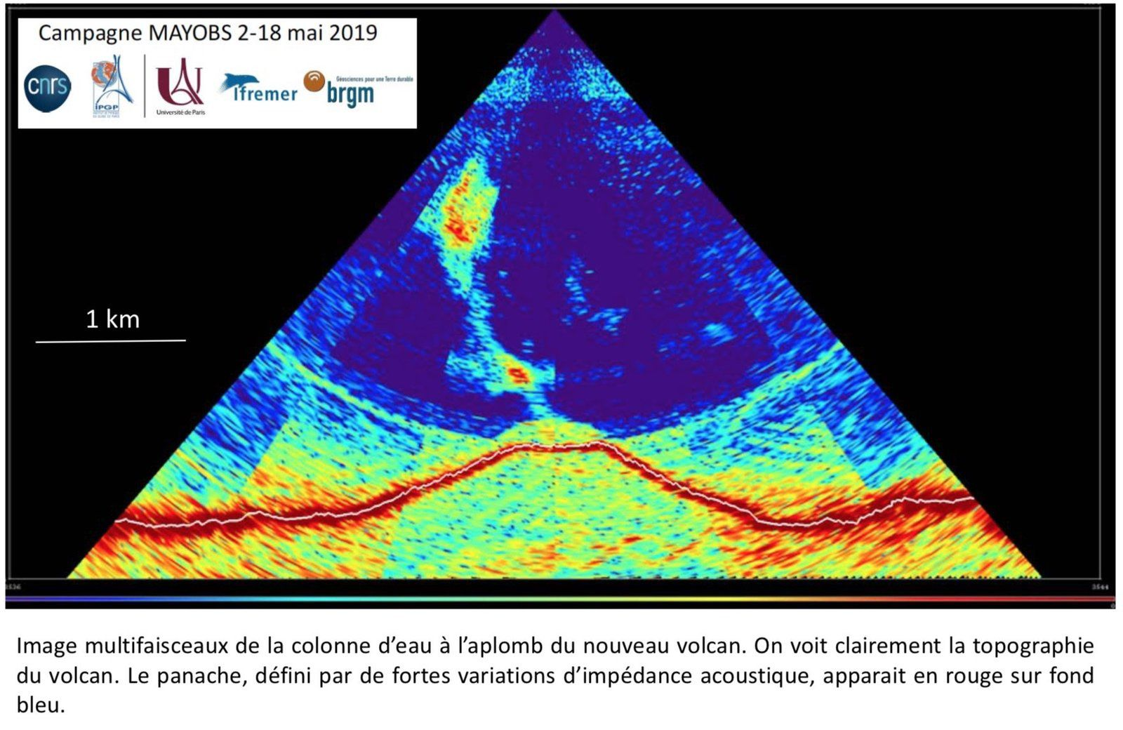 Mayotte - topography of the new volcano and his plume - Doc. MAYOBS campaign from 02 to 18.05.2019 - CNRS / IPGP / IFREMER / BRGM / Univ Paris ; via R.Lacassin