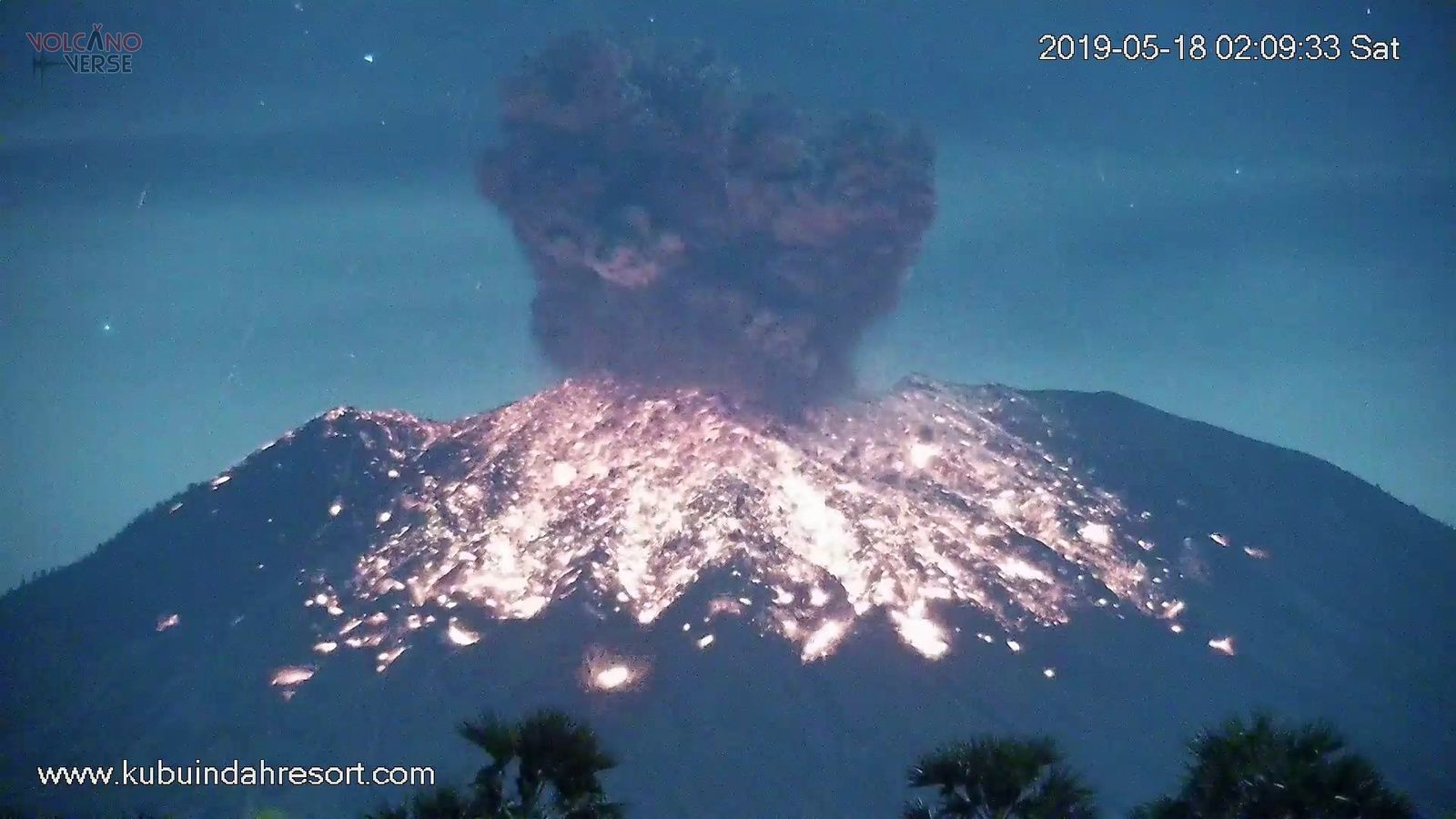 Agung - 18.05.2019 / de 02h09 à 02h12 - photos VolcanoVerse / Kubuindahresort