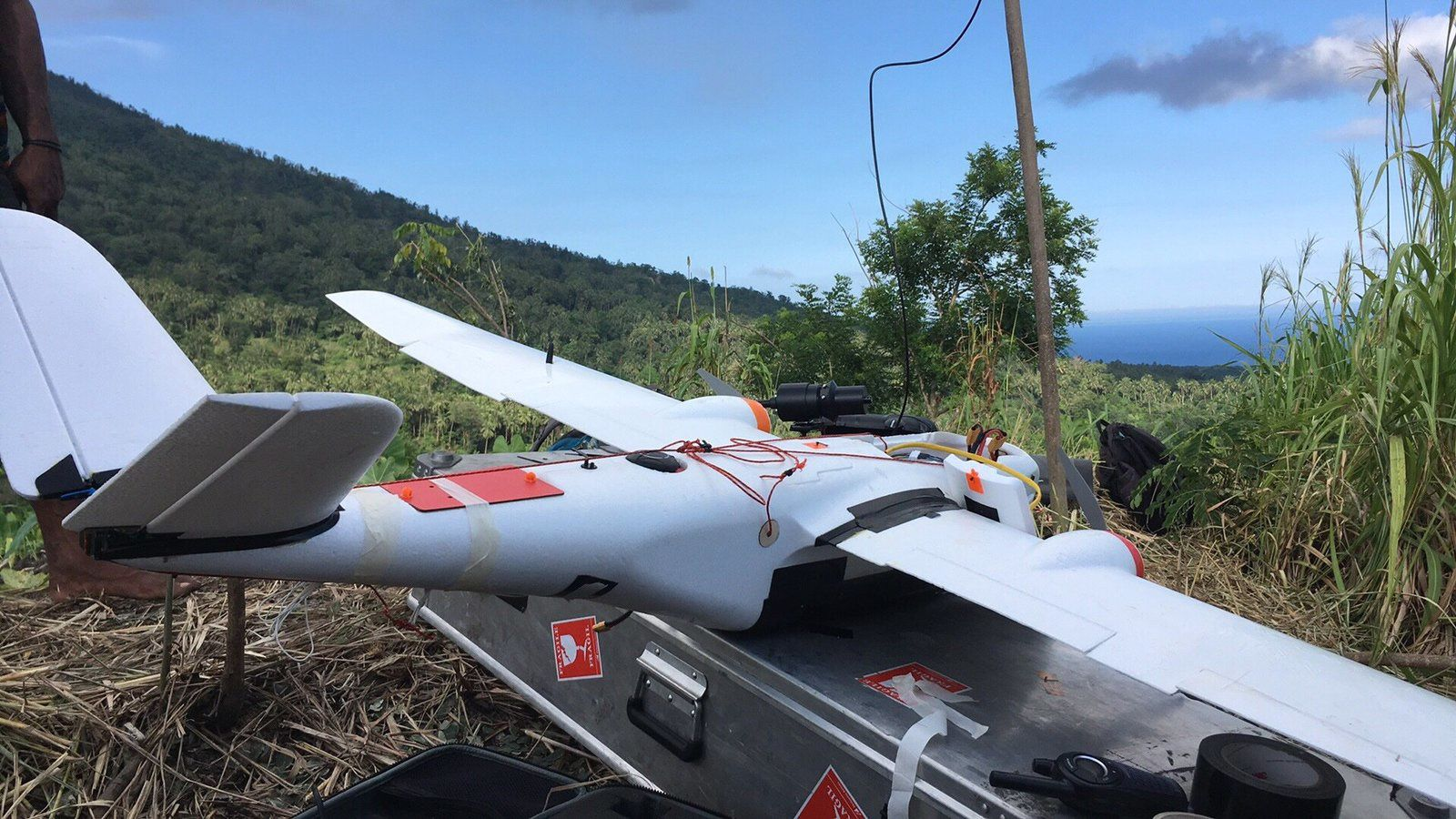 Manam - the fixed-wing drone equipped for measurement and sampling - photo Emma Liu / Twitter 24.05.2019