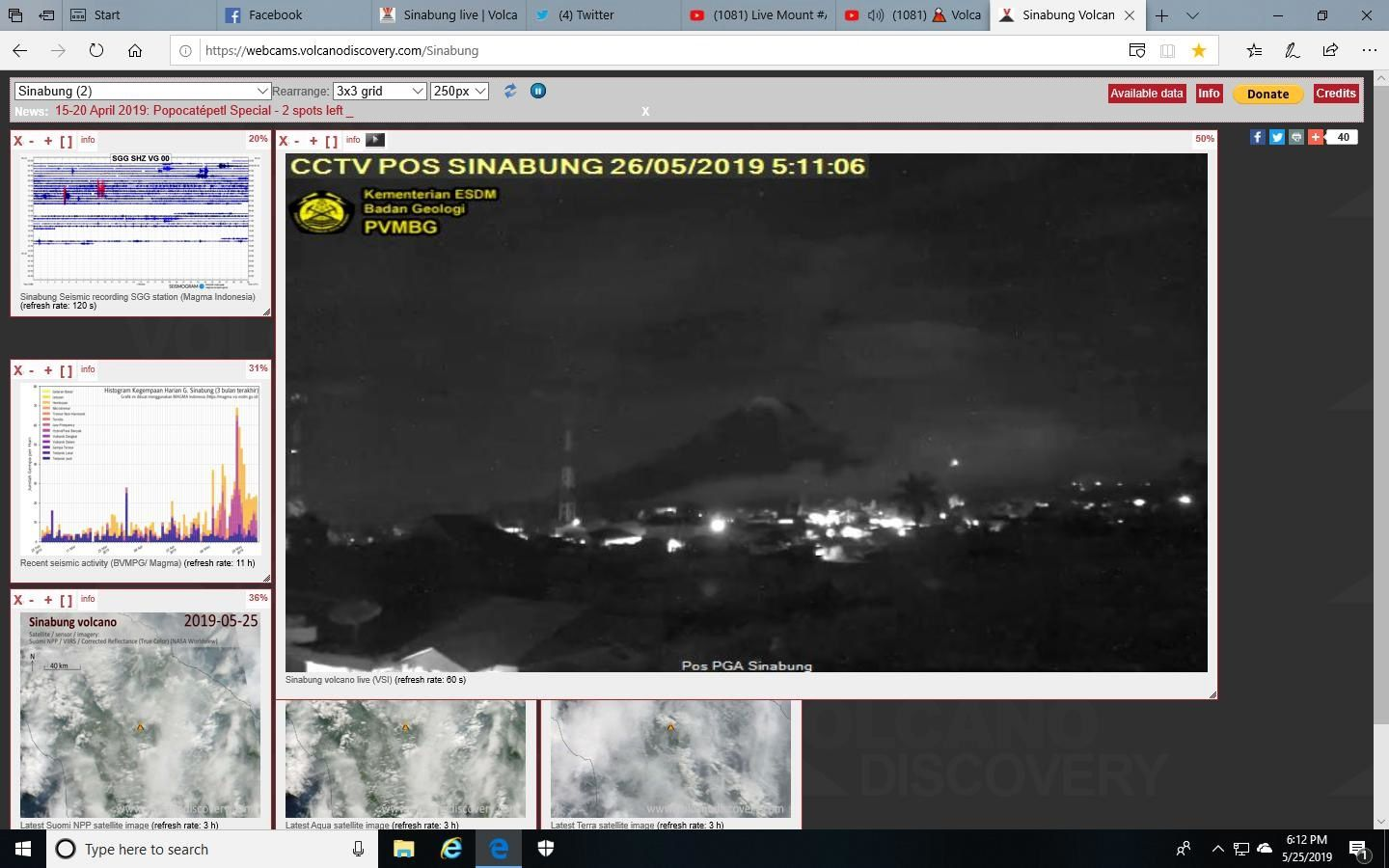 Sinabung- a small glow this 26.05.2019 / 05h11 could suggest a second round? - Doc. PVMBG