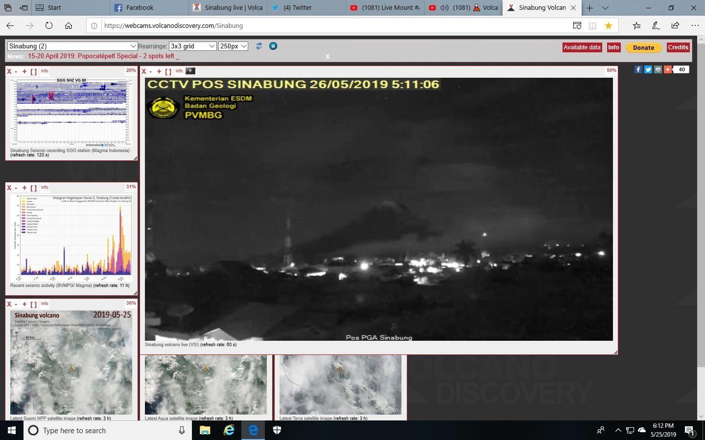 Sinabung-  une petite incandescence ce 26.05.2019 / 05h11 pourrait suggérer un second tour ? - Doc. PVMBG