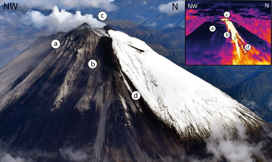 "Sangay - photograph in the field of the visible and corresponding thermal image in the inset - a) crack associated with the emission of lava flows through the Vento ""Domo Ñuñurcu"". b) Active lava flow from the Ñuñurcu dome. c) Central crater and column emissions of volcanic gas. d) Pyroclastic flow derived from the collapse of the lava front. (Photo and image: M Almeida, May 17, 2019 via IGEPN)"