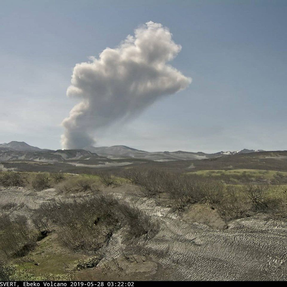 Ebeko - ash plume at 3,000 meters this 28.05.2019 - Doc. SVERT