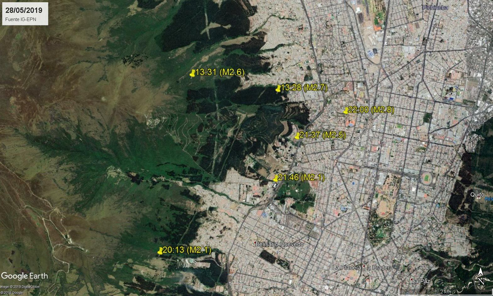 Quito - location and magnitude of the most important earthquakes recorded in the north of the city on 28.05.2019 - Doc. IGEPN