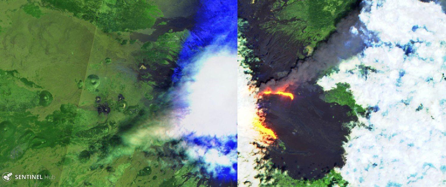 Etna - 30.05.2019 - activité effusive et panache gris - image Sentinel 2 bands 12,11,4 - un clic pour agrandir