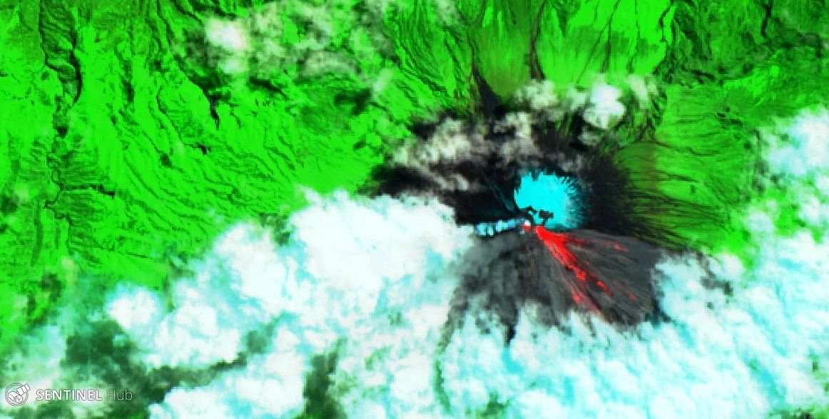 Sangay - activity from 01.06.2019 - image Sentinel-2 SWIR - one click to enlarge