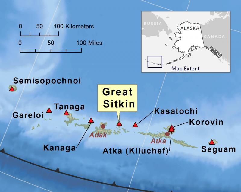 Location of Great Sitkin - map J.Schaefer / AVO