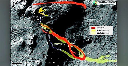 Etna - Carte de la zone du cratère du sommet (DEM 2014, Laboratoire d'aérogéophysique - Section Roma 2, mod.) avec une cartographie schématique préliminaire du champ de lave réalisée à l'aide d'enquêtes à l'aide de drones, d'images du satellite Sentinel2 du 30 mai et d'images thermiques du relief. du 2 juin à la Schiena dell'Asino. - INGV Catania