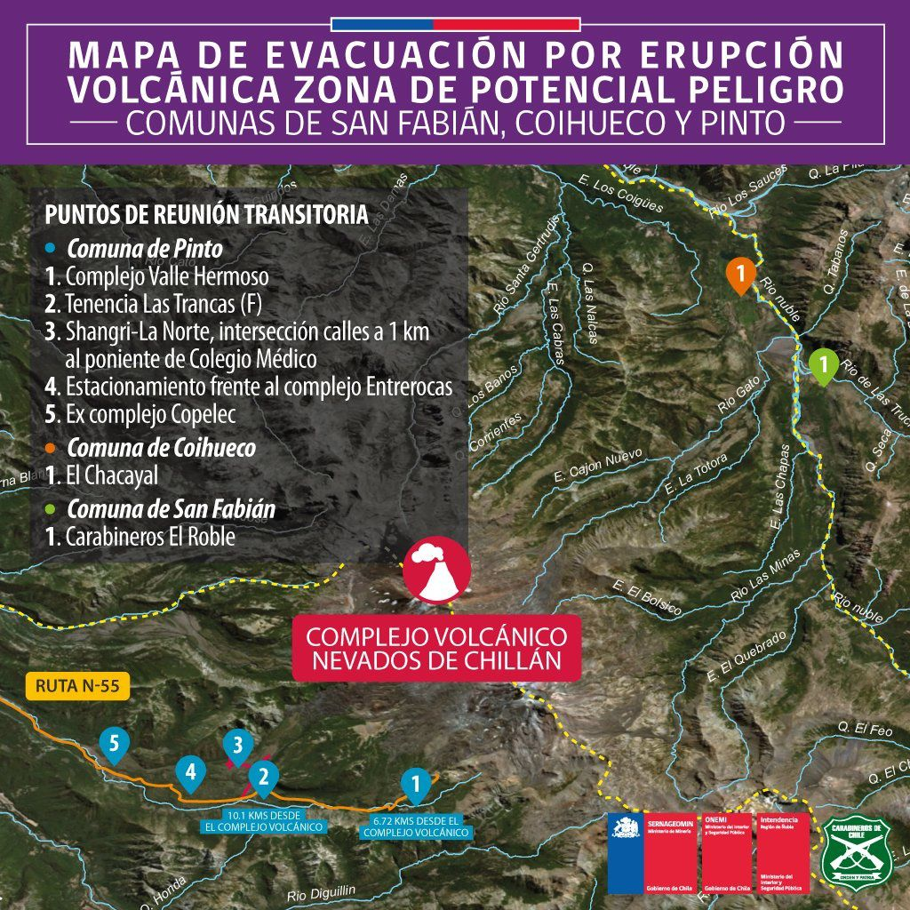 Nevados de Chillan - 07.06.2019 - map of evacuation routes and transitional meeting points for 3 municipalities - Doc. SERNAGEOMIN