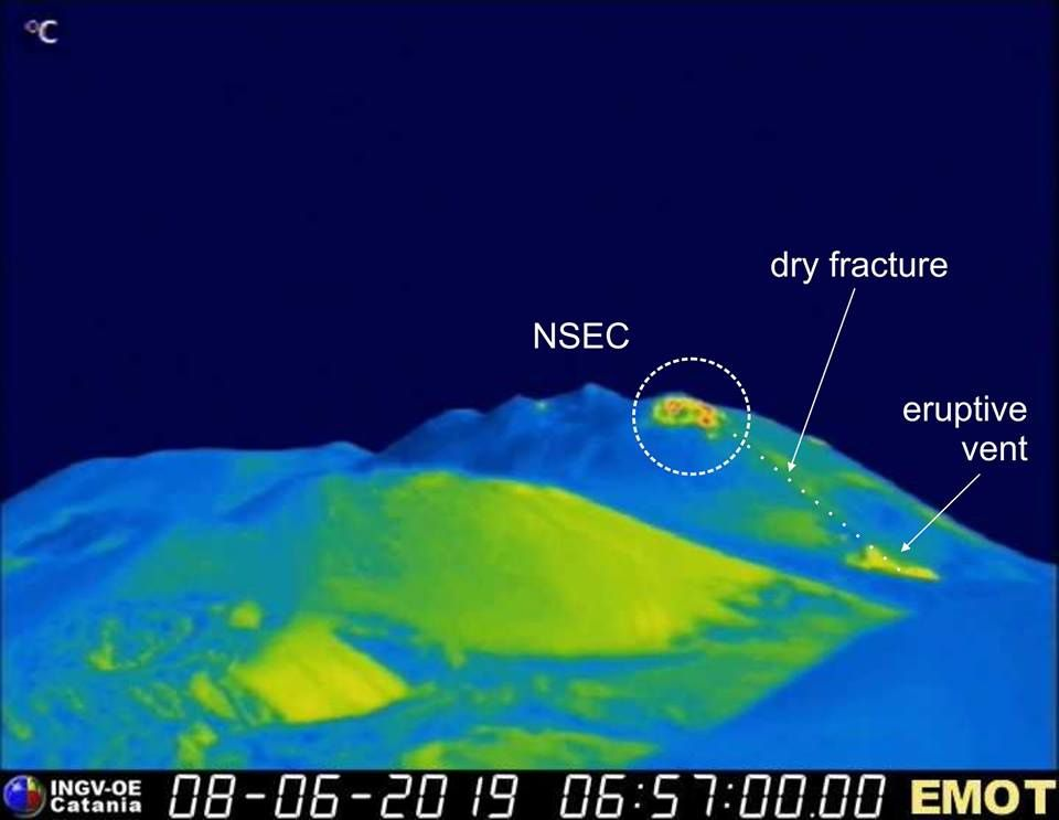 Etna NSEC - location of the dry fracture and hot zones - thermal camera INGV 08.06.2019 / 6h57