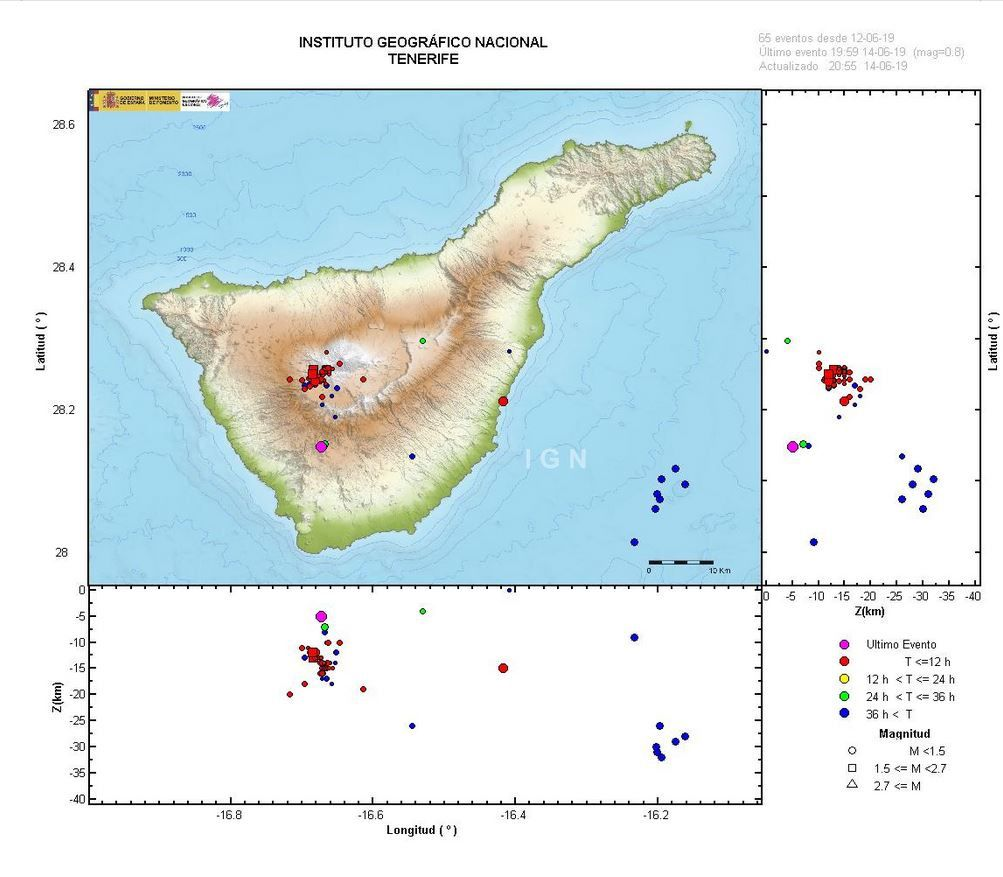 Tenerife - location of the seismic swarm from 12-14 June 2019 - Doc. IGN Spain