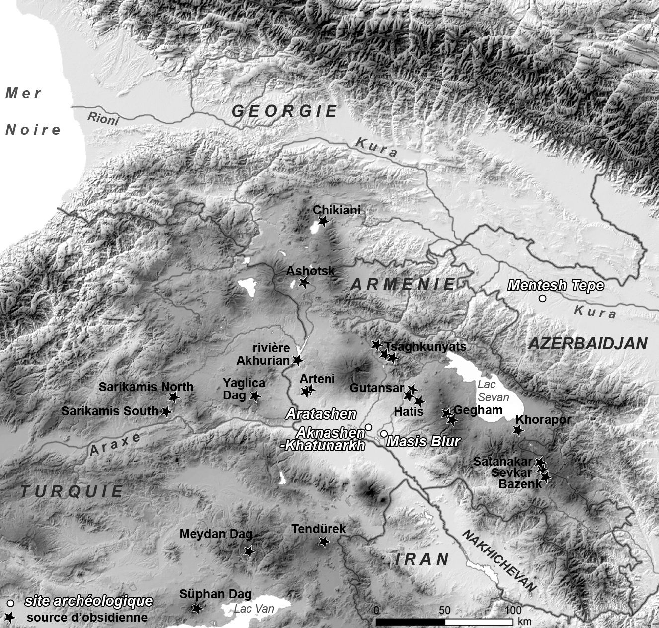 Map of the distribution of obsidian sources in the Caucasus and northeastern Turkey and location of the studied sites. - Doc. Ch Chataigner / references in sources