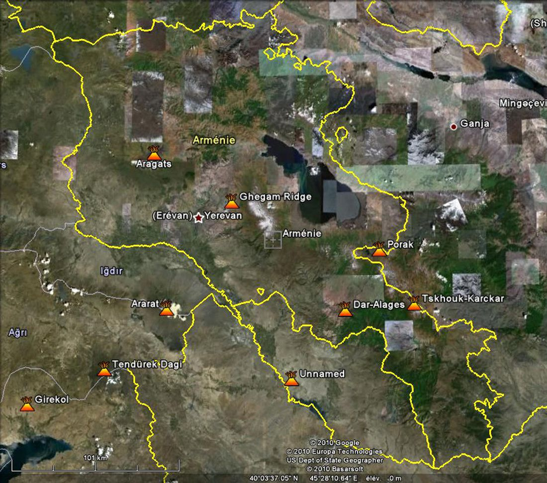 Localisation des volcans Arméniens - d'après Google 2010