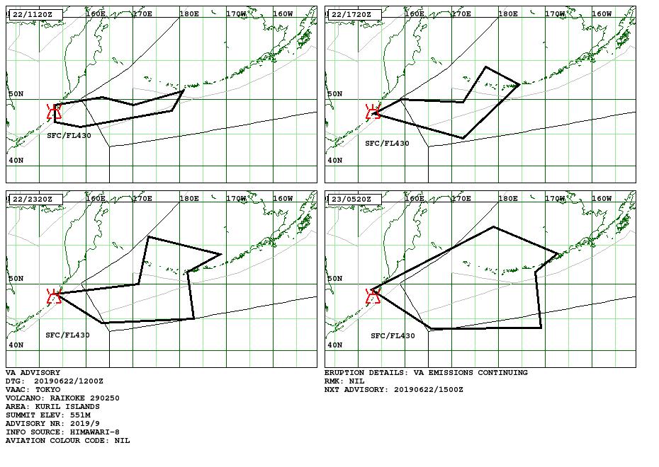 Raikoke - volcanic ash advisory pour les 21 et 22.06.2019 - Doc. Vaac Tokyo