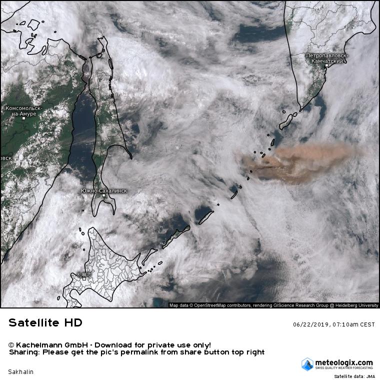 Raikoke - panache de l'éruption du 22.06.2019 / 7h10 CEST - Doc.Kachelman GmbH