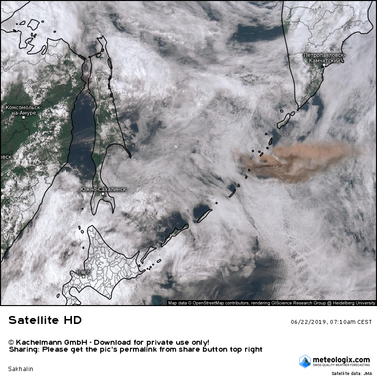 Raikoke - eruption plume of 22.06.2019 / 07:10 CEST - Doc.Kachelman GmbH