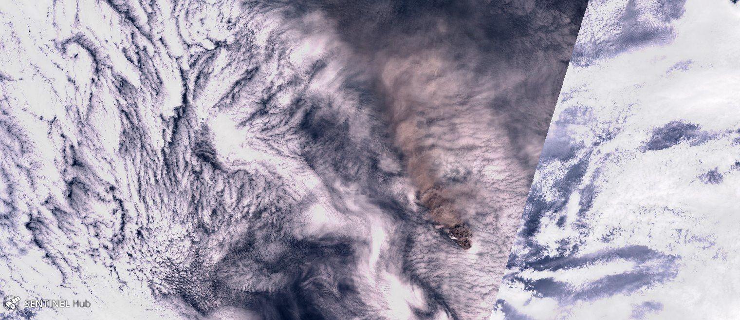 Raikoke island / volcano - image Sentinel-2 image nat colors du 23.06.2019  - un clic pour agrandir