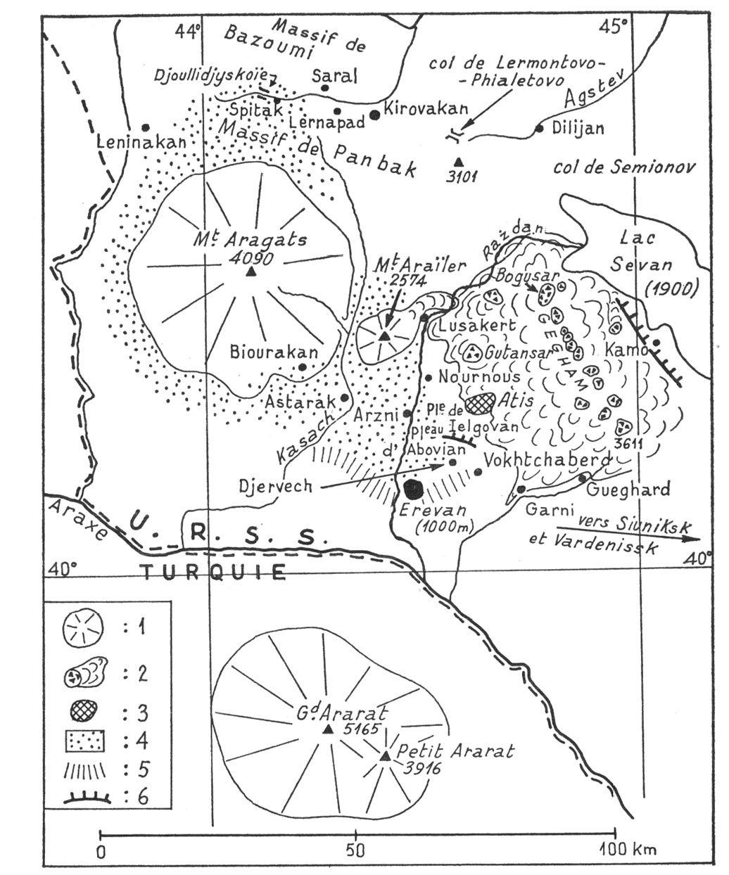 Aragats et Ghégam mountains - avec situation de Garni au sud du champ volcanique - Doc.  Render illustration Persee