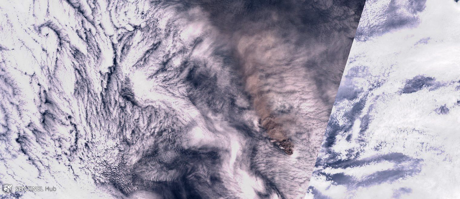 Raikoke - the ash plume by Sentinel-2 nat. colors of 23.06.2019