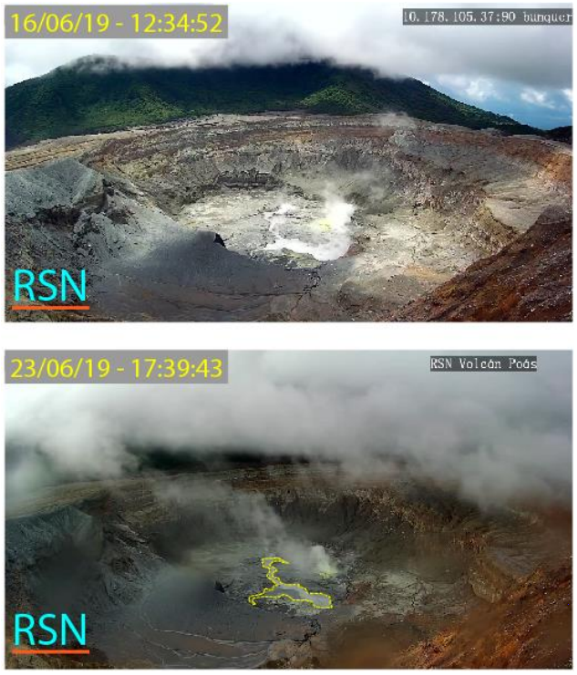 Poas - the crater lake level has been maintained from 16 to 23 June 2019 - RSN webcam pictures